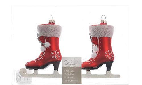 Christbaumschmuck Schlittschuh ( rot glanz oder matt ) // Glas Handarbeit Weihnachtskugeln Baumkugeln Baumschmuck Schlittschuhe
