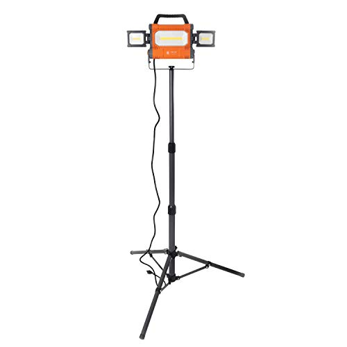 Helios Tool 5000 Lumen Portable LED Worklight with Swivel Side Lights and 5ft Tripod Stand