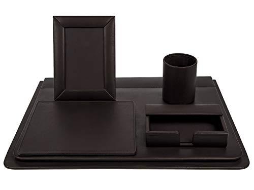 Set de escritorio en piel genuina color café chocolate 5 piezas Nombre del producto. OMINE
