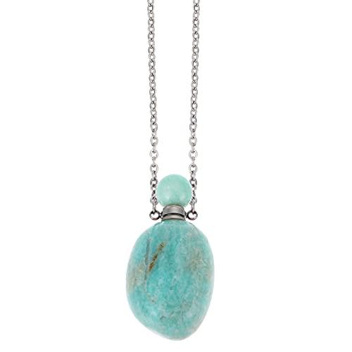 HEMOTON Collar Largo de Cristal Natural para Mujer Difusor de Aceites Esenciales Difusor de Aroma de Piedras Preciosas Botella de Perfume Collar Colgante Joyería Verde