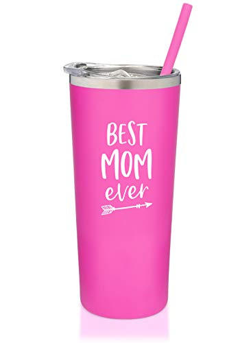 SassyCups Best Mom Ever Tumbler | Engraved Stainless Steel Tumbler with Straw | New Mom Travel Mug | Worlds Best Mom Tumbler | New Mom Cup | Mom To Be | Mom Birthday | For Mom Bday (22 Ounce, Pink)