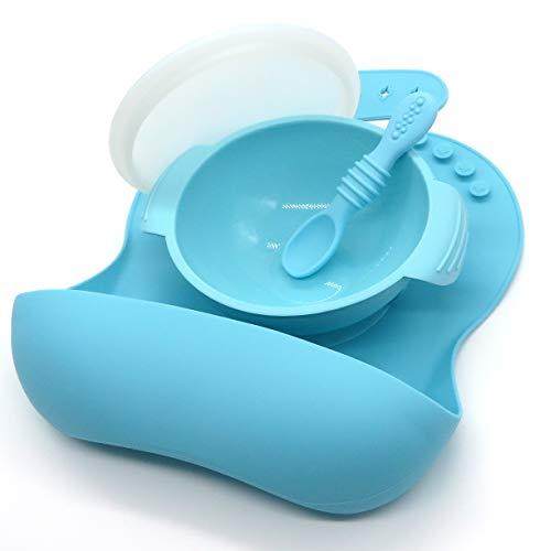 BUABI set 4 piezas de silicona: babero, cuchara, bowl y tapa. Conjunto para bebé sin BPA, hecho en silicona de grado alimentario (Azul)