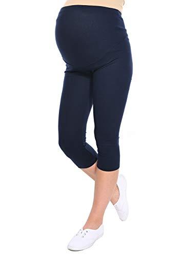 Oasi - Leggings 3/4 de maternité de Bonne qualité 95% Coton 3082 (EU 42, Bleu Marin)