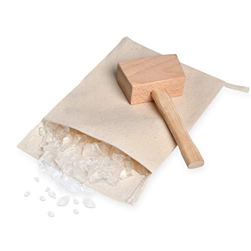 Supkiir Ice Crush Tasche, Lewis Bag Canvas Ice Bag Wiederverwendbare Canvas Tasche mit Holzhammer Hammer für Sommer Barkeeper-Kit & Barwerkzeuge Küchenzubehör