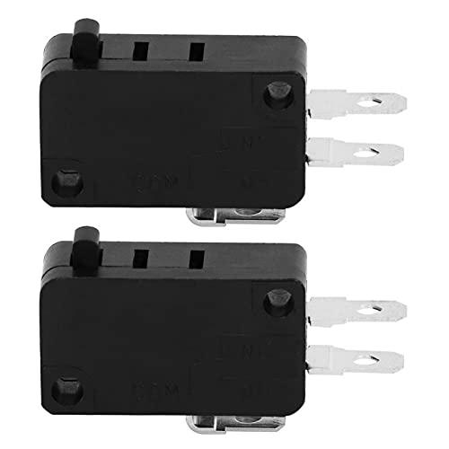 Interruptor de puerta de microondas, ABS negro normalmente cerrado 5E4 veces duradero KW3AT-16 Microinterruptor de puerta de horno de microondas 105 ° Interruptor de enclavamiento de repuesto para pue
