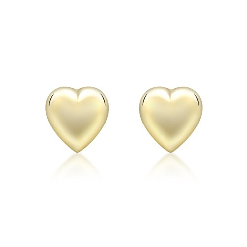 Carissima Gold 9 ct Yellow Gold 6.9 x 7.2 mm Puffed Heart Stud Earrings
