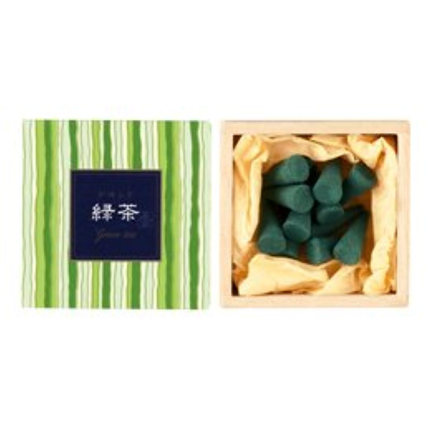 容赦ない葉ヤング【日本香堂】かゆらぎ お香 緑茶 コーン 香立付 12個