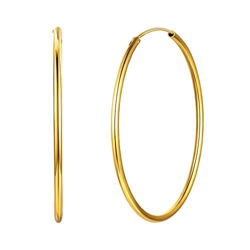 Grand Créoles Plaque Or Femme - Boucles d'oreilles Créoles Argent Fin 925 Diamètre 50 mm - Cercle Endless Hoop Bijoux Cerceau pour Femmes et Filles