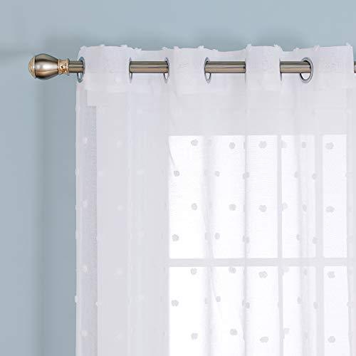 Deconovo Tende Trasparenti in Voile Jacquard per Camera da Letto Moderne con Occhielli 140x290cm Bianco 2 Pannelli