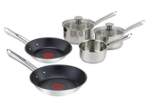 Tefal Elementary Inox Induction Batterie de cuisine 5 pièces 3 casseroles 14/16/18 cm + couvercles en verre 16/18 cm + 2 poêles 20/24 cm H054S544