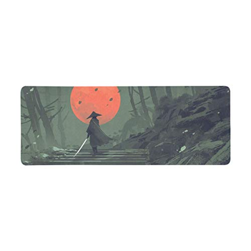InterestPrint Soft Extra Extended Large Gaming Mouse Pad with Stitched Edges, Desk Pad Keyboard Mat, Non-Slip Base for Office & Home, 31.5 x 12In - Japanese Samurai in Night Forest with The Red Moon