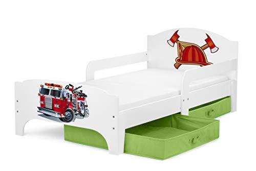 Leomark SMART Kleinkinderbett aus Holz - Feuerwehr - Kinderbett mit Schubladen für Bettwäsche, Feuerwehrbett mit Matratze, Stauraum, Rausfallschutz Lattenrost, Liegefläche 140 x 70 cm