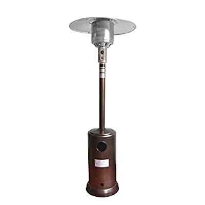 46000 Btu Stainless Steel Patio Heater, Propane Patio Heater w/Wheels and Table, Large, Hammered Silver,Garden Treasures,Outdoor Table Top Heater W/Adjustable Thermostat, Suitable for Yard (Brown)