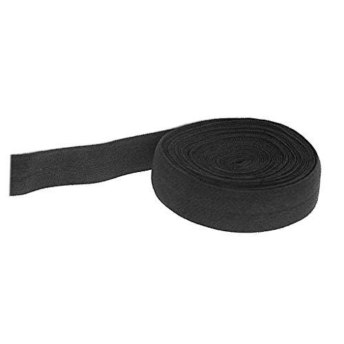 F Fityle 10m Schrägband elastisches Band Falzband Falzgummi, 20mm, Einfaßband Gummi nähen - Schwarz
