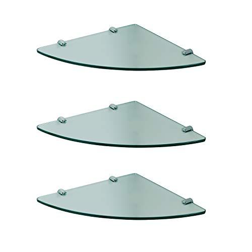 8 mm Glas-Wandregal Glasregal Eckregal für Duschwände/Duschkabinen Klarglas Regal Ablage Sicherheitsglas, 3 Stück