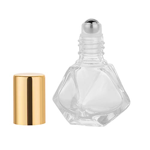 6Pcs 5ml (1/6 oz) DIY Travel Essential Oil Roller Bottle Polygonal Clear Glass Cosmetic Contaners Vials for Essential Oils Perfumes Aromatherapy, 1pc Funnel and Dropper, Roll on Bottles with Gold Cap