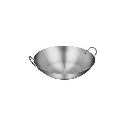 DAGONGREN Wok de acero inoxidable, saludable y seguro, menos grasa, cacerola antiadherente, se puede utilizar for alimentos salteados