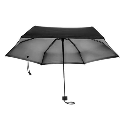 non_brand Frauen Winddicht AntiUV Compact Regen Sonnenschirm Faltbarer Sonnenschirm Tragbare Reise - Schwarz