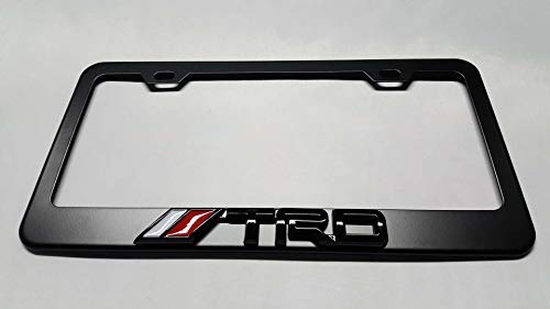 Usudu for TRD Logo Emblem Stainless Steel License Plate Frame Rust Free W/Bolt Caps for Tacoma 4Runner Tundra (Black+Black Logo)