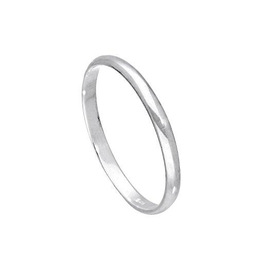 Sterling Silber 2mm Ehering in D Form Größe 53 (Erhältliche Größen: 43-65)