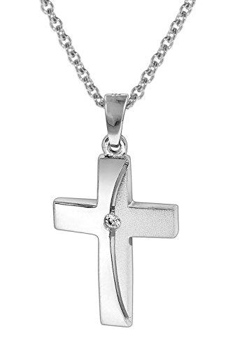 trendor Kreuz-Anhänger mit Silberkette 925 Kreuz Kette für Damen und Herren, Kreuz Anhänger Silber 925, modische Geschenkidee, zeitloser Halsschmuck 35864