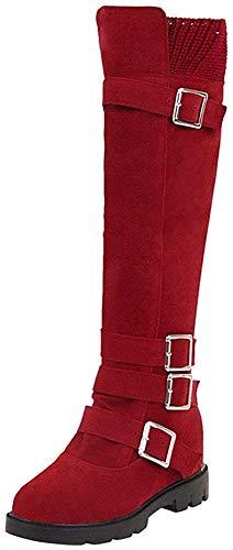 Bigtree Damen Schneestiefel Flach Komfortable Winter Warm Faux Suede Overknee Stiefel mit Seitlichem Reißverschluss mit Blockabsatz Profilsohle Flandell Rot