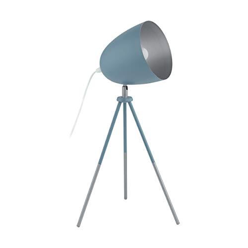 EGLO Chester-P Dreibein Tischlampe, 1 flammige Vintage Tischleuchte, Nachttischlampe aus Stahl, pastell dunkelblau, silber, Fassung: E27, inkl. Schalter