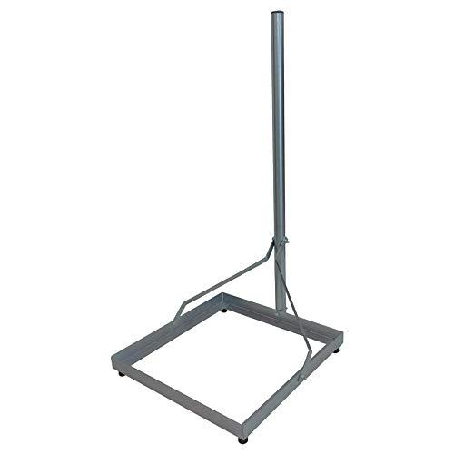 Balkonständer Stahl, 100cm Mast verzinkt für 50x50 cm Platten - für Sat Schüssel, Flachantenne, UKW/LTE/DVB-T Antenne, Sonnensegel-/ Sonnenschirmständer, Camping, inkl. Gummifüße