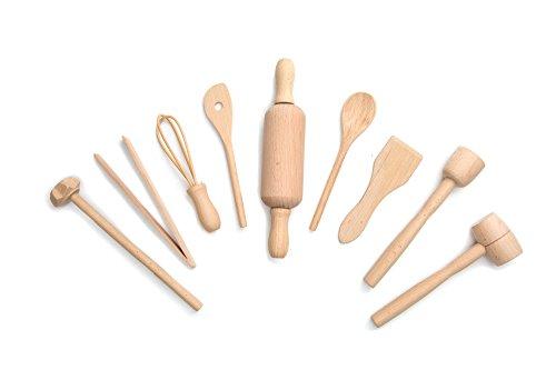 Fox Run Kids Cooking/Baking Tools Set, Wood, 9-Piece