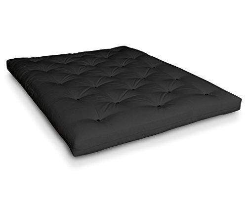 Futon Kuro Schafwollfuton Futonmatratze mit 8X Schafwolle von Futononline, Größe:140 x 200 cm, Color Futon SE Amazon:Grau/Filz schwarz