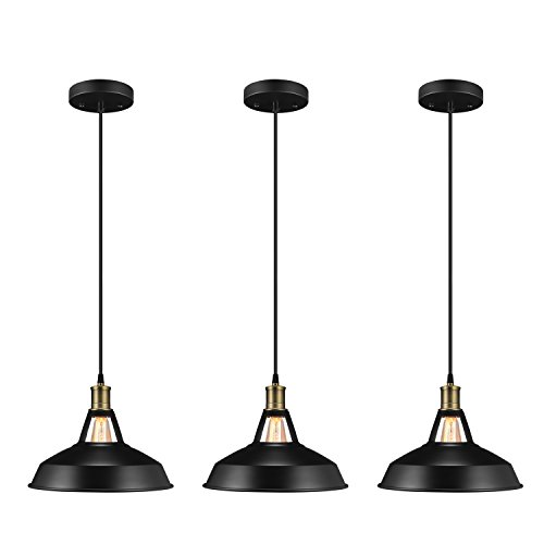 Salking Metal Industrial Pendant Light, Vintage Barn Hanging Lamp, Modern Iron Pendant Lighting, Oil Rubbed Black Finish, Ceiling Light/Dining Room Lamp - 3 Pack