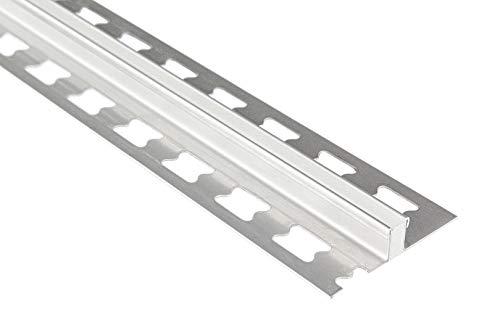 HEXIM 10mm Dehnfugenprofil Edelstahlschienen Sparpakete - Fliesenschienen, Fugenprofil silber gebürstet - 10 Stück = 20 m á 2,00 m