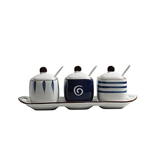 Barattolo di spezie in ceramica con coperchio e cucchiaio Creativo Zucchero Ciotola Salt Pepper Shaker Shaker Box Scatola di condimento (Colore: A, Dimensione: GRATUITA) (Colore: A, Dimensione: GRATUI
