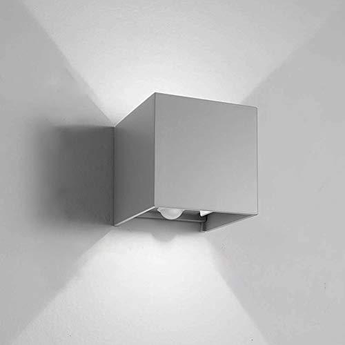 Klighten 12W LED Außenwandleuchte mit Bewegungsmelder Einstellbar Abstrahlwinkel Wasserdichte IP 65,Wandlampe 6000K Kaltes Weiß LED Wandbeleuchtung [Hellgrau]