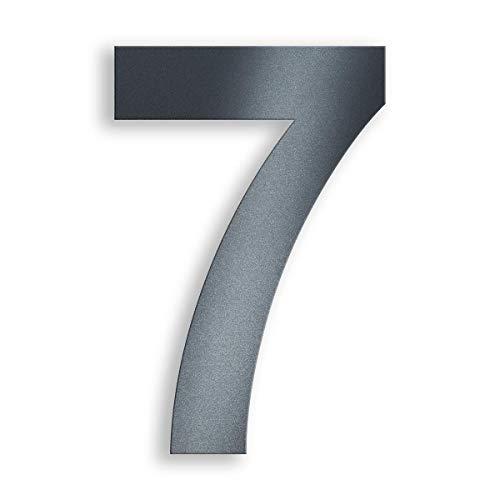 Metzler Edelstahl Hausnummer - RAL 7016 Anthrazitgrau Feinstruktur Pulverbeschichtet - Schrift Arial - Höhe 14 cm - Ziffer 7