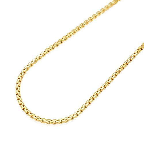 "Solid 14K Yellow Gold 3.5mm Round Box Link Chain Necklace 20"" - 30"", 26"