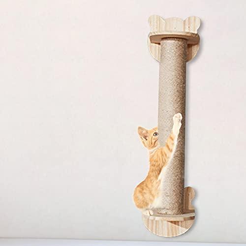 Rubeyul Colonna tiragraffi per gatti da parete, in legno massiccio e corda di canapa, altezza 65 cm, facile da montare, centro di attività per gatti