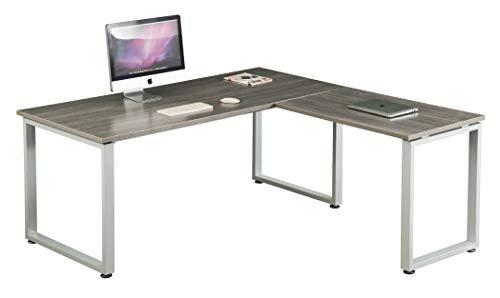 hjh OFFICE 674070 Eckschreibtisch WORKSPACE XL Grau/Weiß Schreibtisch mit großer Arbeitsfläche...