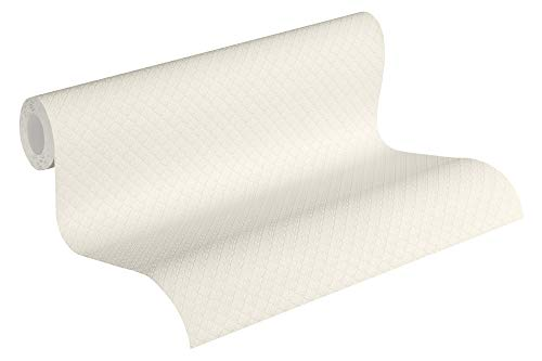 Jette Vliestapete Tapete Uni grafisch 10,05 m x 0,53 m creme weiß Made in Germany 373641 37364-1