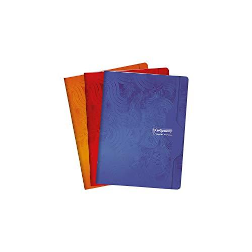 Calligraphe 7498C - Un cahier piqué (gamme 7000 de Clairefontaine) 192 pages 24x32 cm 70g grands carreaux, couverture carte offset, couleur aléatoire