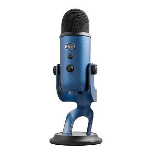 Blue Yeti USB Mic for Recording & Streaming on PC and Mac, 3 Condenser Capsules, 4 Pickup Patterns, Headphone Output and Volume Control, Mic Gain Control, Adjustable Stand, Plug & Play - Midnight Blue