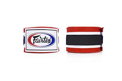 Fairtex Muay Thai boxe fascia da polso in cotone elastico Handwraps HW2color nero Bleach blu rosso...