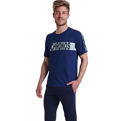 ATHENA - Pyjama Long col Rond Homme Chronos - Taille : 5 - Couleur : Bleu-Marine