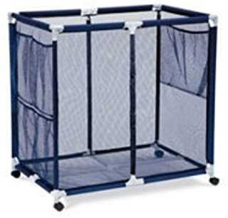 Modern Blue Pool Storage Bin - Extra Large | Perfect Contemporary Nylon Mesh Basket Organizer For Your Goggles, Beach Balls, Floats, Swim Toys & Accessories | Air Dry Items Quickly & Easily Roll The Mesh Storage Bins To Your Home Garage or Shed