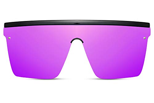 Cheapass Sonnenbrillen Massive Übergröße XXL Schwarz Shield Lila verspiegelt einteilige Linse UV400 Frauen