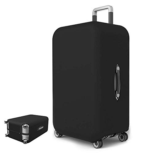 Travel Luggage Cover Spandex Suitcase Protective (Black with Zipper, XL)
