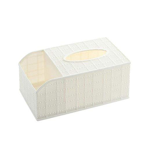 Haozhuokun 1Pc Desktop-Tissue Box Fernbedienung Aufbewahrungsbox Home Living Toom Couchtisch Divider Plastikschale, blau Gewebe-Kasten-Halter (Color : White)