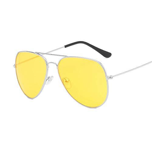 NJJX Gafas De Sol De Piloto De Moda Para Mujer, Gafas De Sol Coloridas Para Mujer, Espejos Plateados, Amarillo