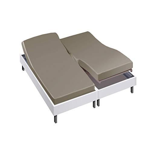 Drap House pour lit articulé 2x80x200 en Percale Taupe - Couleur: Taupe