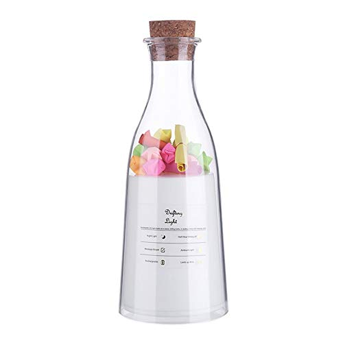 SYyshyin Botella de leche con luz de sueño Botella de deriva USB recargable luz de noche colorida multi-ambiental luces amante podrido regalo deseando botella lámpara mensaje